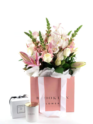 Bouquet Bag and Gift Package, Bouquet bag & Candle, Bouquet, Pastels, Brooklyn Flowers, Auckland Florist