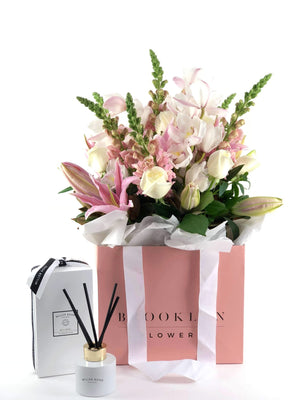 Bouquet Bag and Gift Package, Bouquet Bag & Diffuser, Bouquet, Pastels, Brooklyn Flowers, Auckland Florist