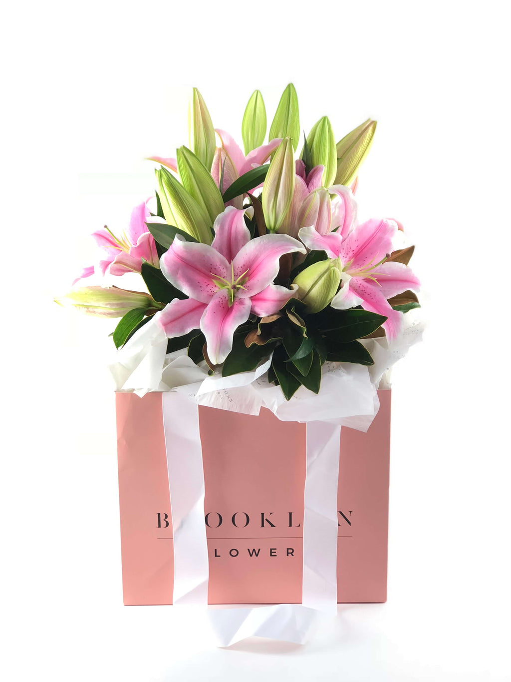 Lily Bag, Pink Lilies, Brooklyn Flowers