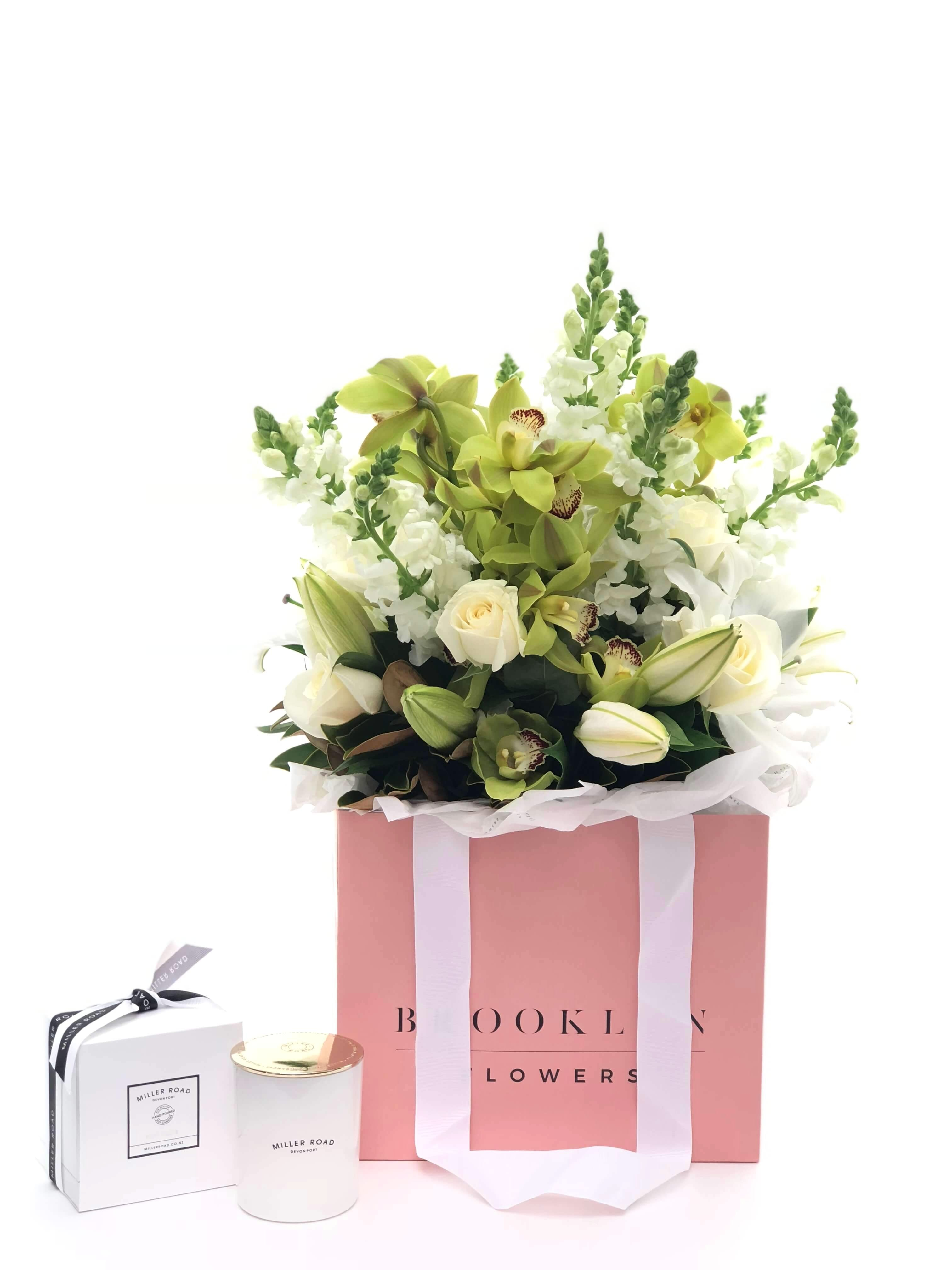 Bouquet Bag and Gift Package, Bouquet Bag & Candle, Bouquet, Serene, Brooklyn Flowers, Auckland Florist