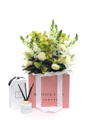 Bouquet Bag and Gift Package, Bouquet bag & Diffuser, Bouquet, Serene, Brooklyn Flowers, Auckland Florist