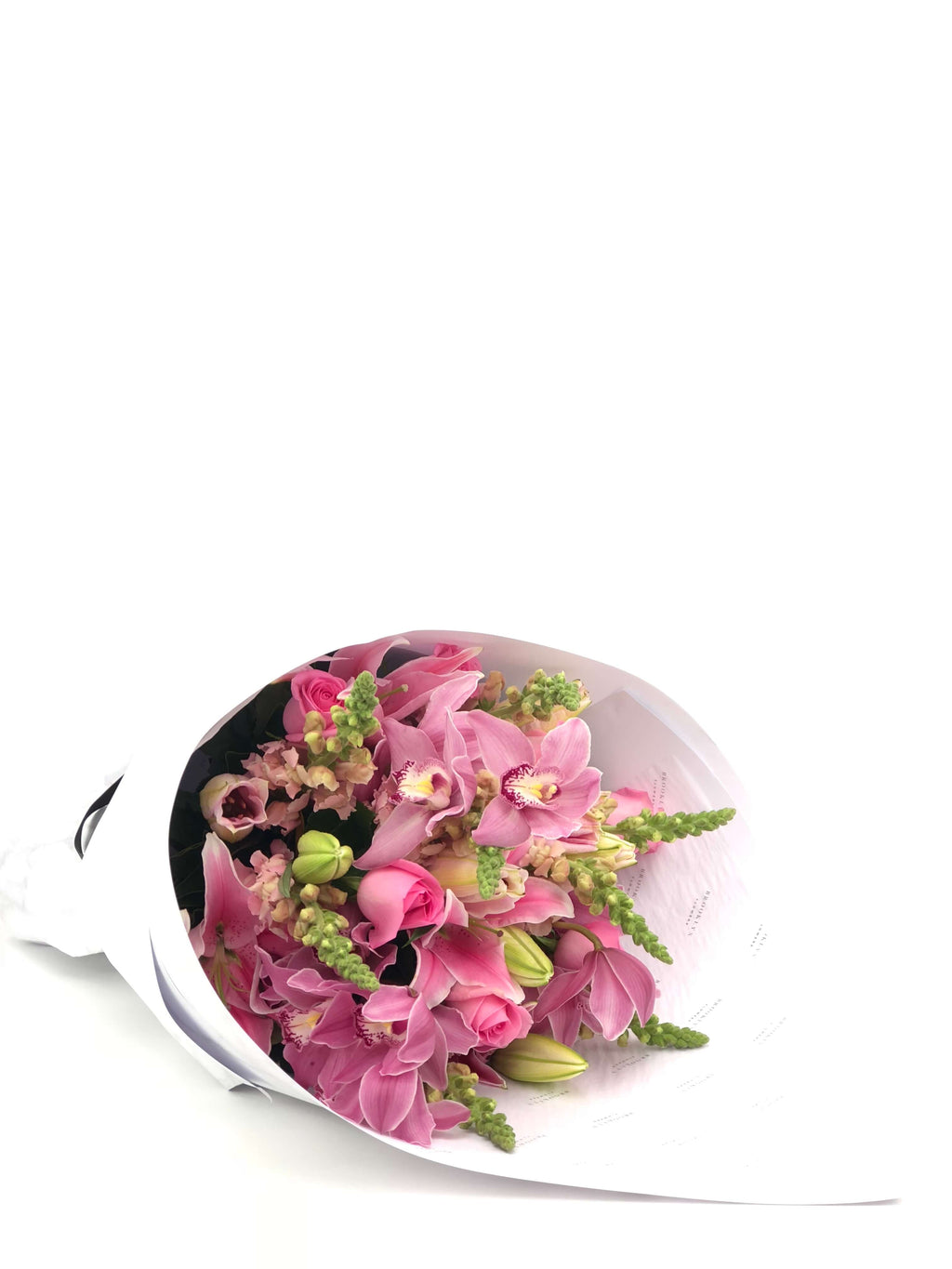 Bouquet, Pretty, Pink Bouquet, Pink Lilies, Lilies, Pink Snapdragons, Snapdragons, Roses, Pink Roses, Pink Cymbidium Orchids, Cymbidium Orchids, foliage