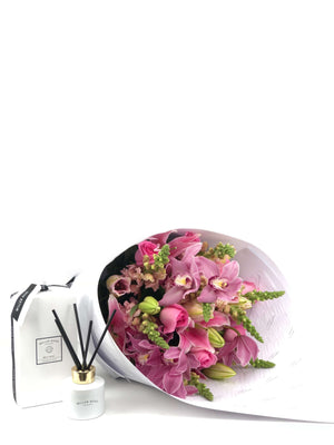 Bouquet and Gift Package, Bouquet & Diffuser, Bouquet, Brooklyn Flowers, Auckland Florist