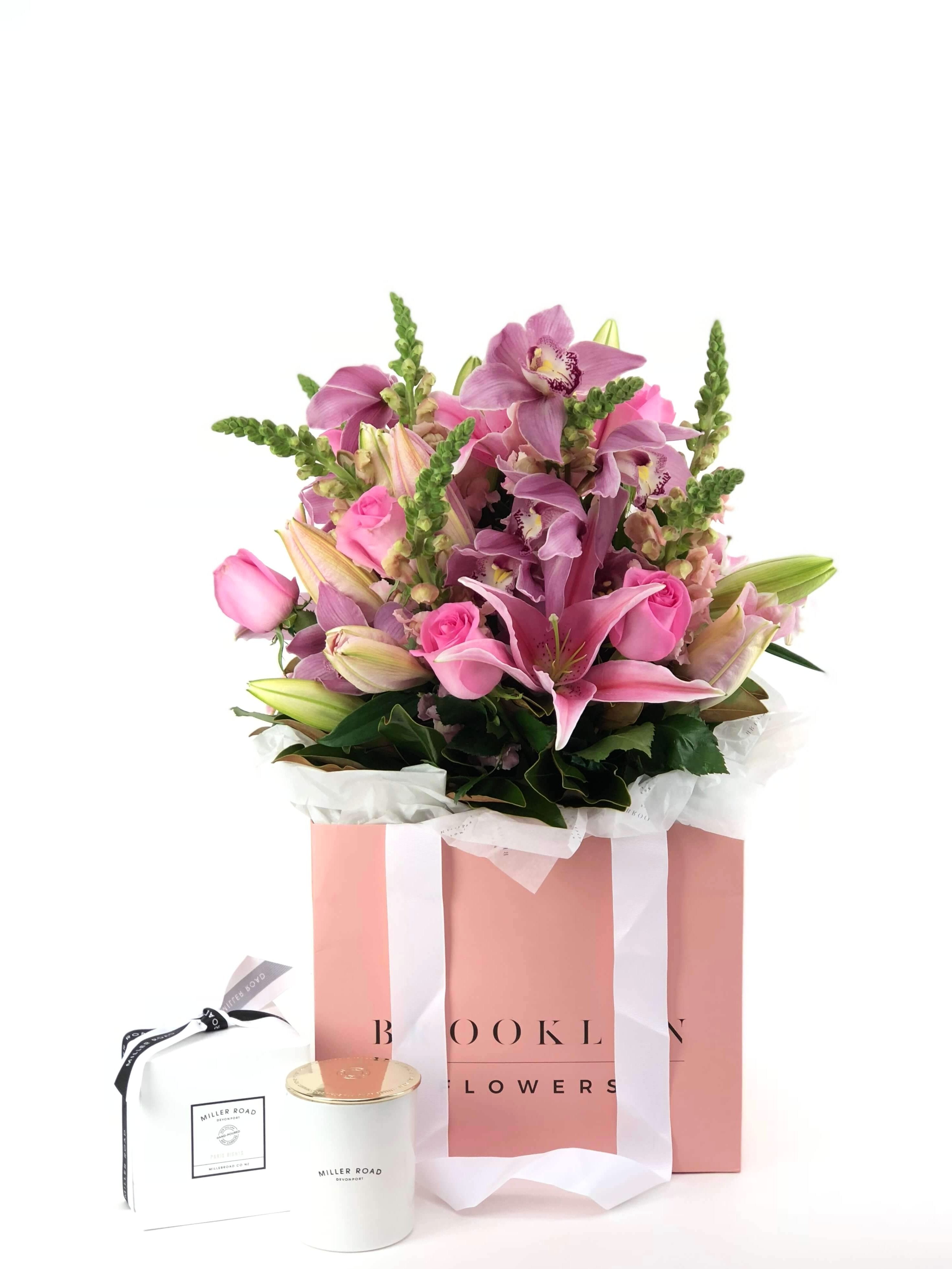 Bouquet Bag and Gift Package, Bouquet Bag & Candle, Bouquet, Pretty, Brooklyn Flowers, Auckland Florist