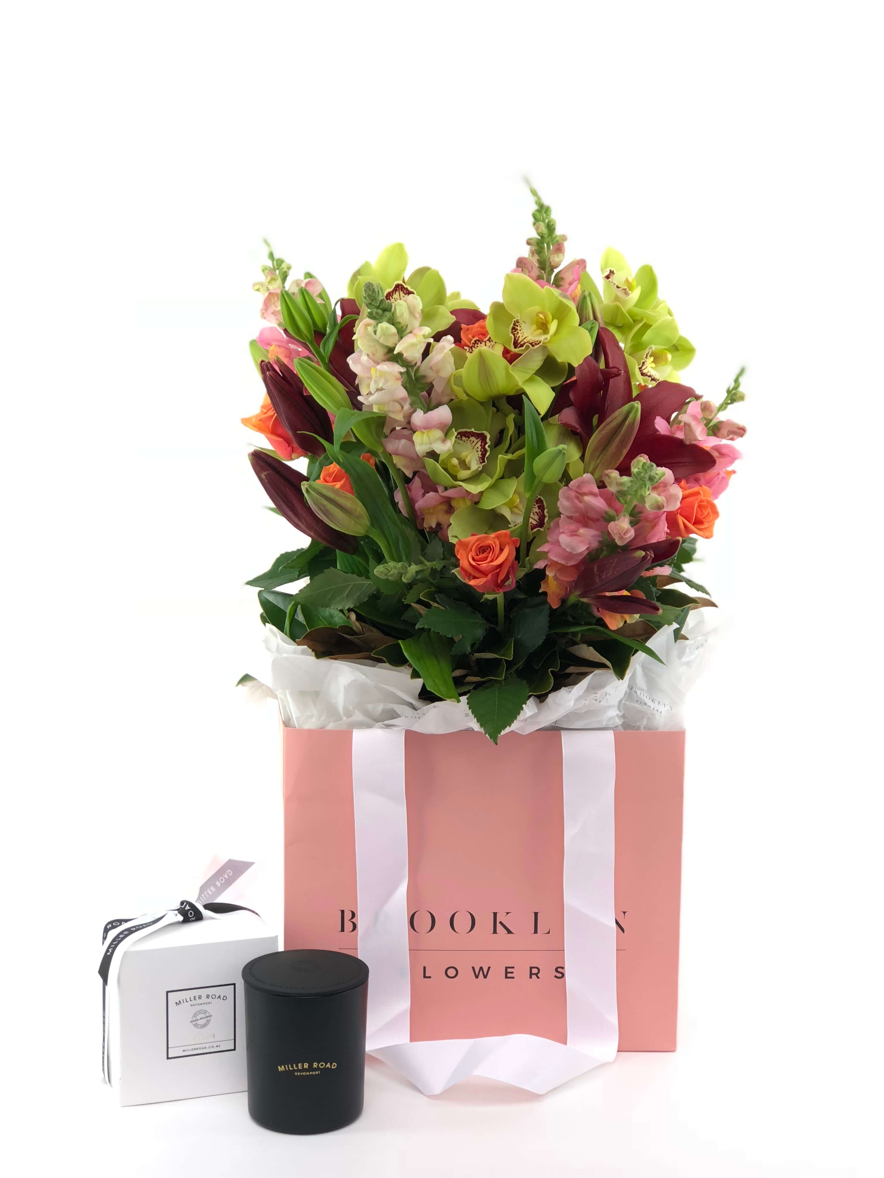 Bouquet Bag and Gift Package, Bouquet Bag & Candle, Bouquet, Cheerful, Brooklyn Flowers, Auckland Florist