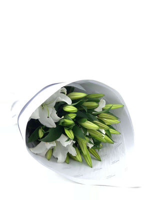 One Flower On Mass, Lilies, Lily Bouquet, Bouquet, Brooklyn Flowers, Auckland Florist