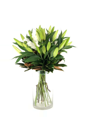 One Flower On Mass, Lilies, Lily Bouquet, Bouquet, Vase, Vase Arrangement, Brooklyn Flowers, Auckland Florist
