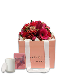 The Love Posy Bag & Ecoya Candle Gift Package & FREE vase - Brooklyn Flowers