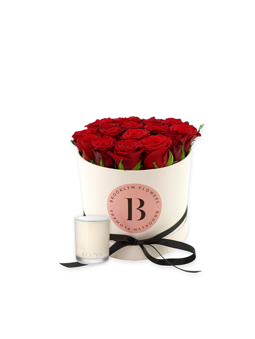 Valentine's Brooklyn Rose Box & Candle Gift Package - Brooklyn Flowers