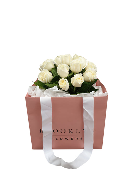 White Rose Posy (+ Free Vase) - Brooklyn Flowers