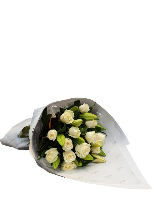 White Lily & Rose Bouquet - Brooklyn Flowers