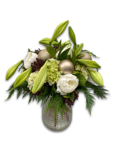 White and Green Posy with Vase