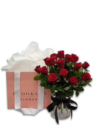 Red Rose Posy  (+ Free Vase)