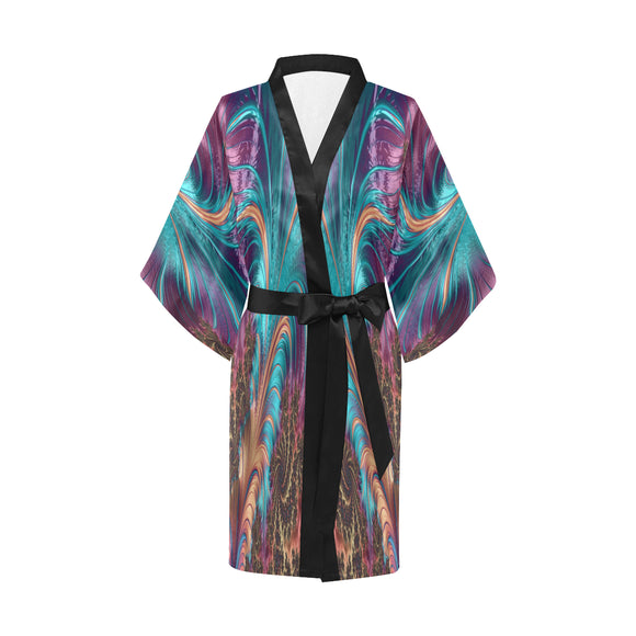 Robe Women's Short Kimono, Fractal Feather