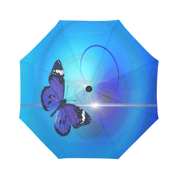 Automatic Foldable Electric Blue Butterfly Umbrella