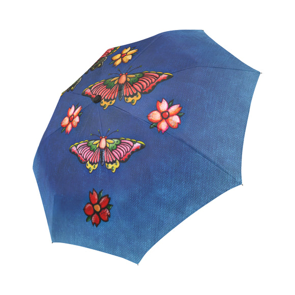 Anti-UV Automatic Foldable Vintage Butterfly Blue Umbrella