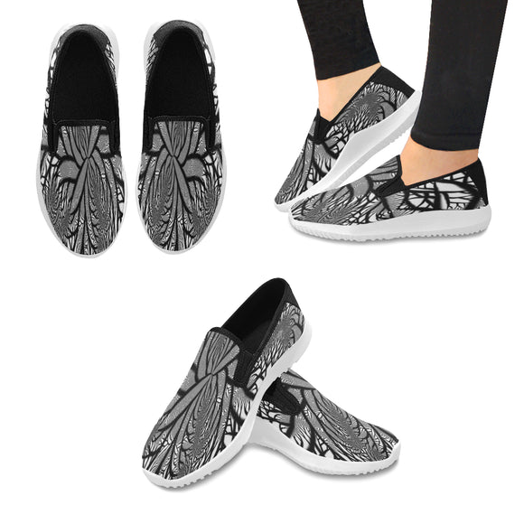 Orion Slip-on Canvas Women's Black & White Fractal Sneakers (Model042)