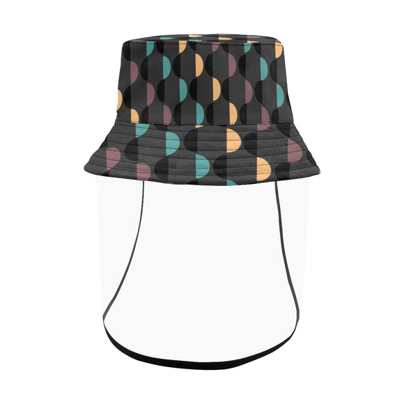 Women's Bucket Polka Dot Hat with Removable Protective Face Shield