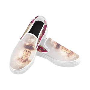 Slip-On Women's Frida Kahlo Orchid Shoes (Model 019) (Two Shoes With Different Printing)