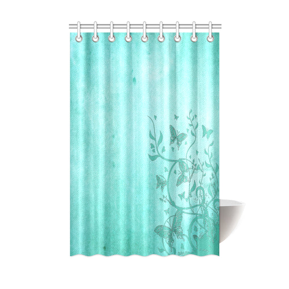 Sea Green Butterfly Trim Shower Curtain