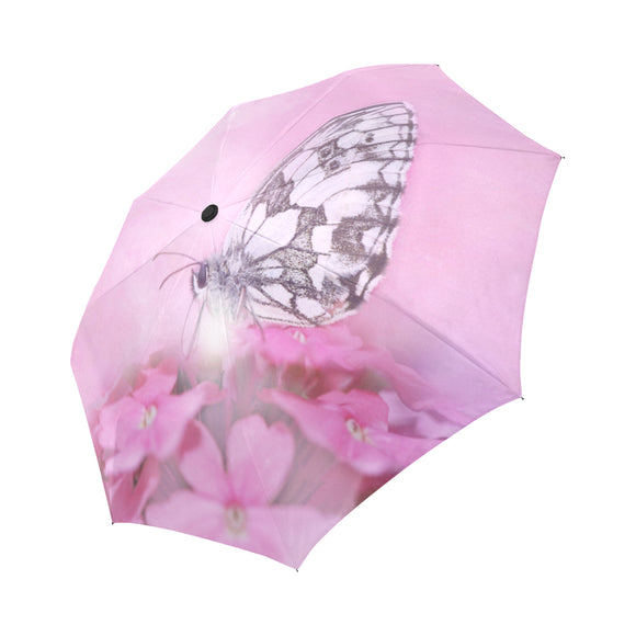 Anti-UV Automatic Foldable Pink Butterfly Umbrella