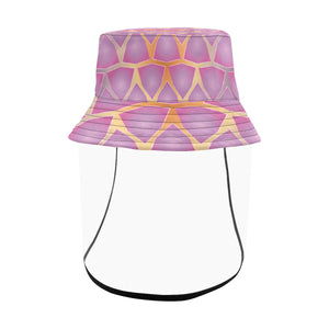 Women's Bucket Pink Fractal Hat With Removable Protective Face Shield