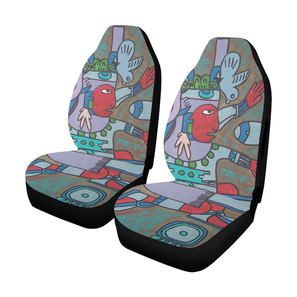 Car Seat Cover Xiuhtecuhtli Aztec God of Fire Airbag Compatible (Set of 2)