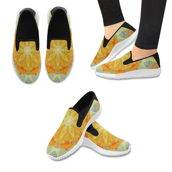 Orion Slip-on Canvas Women's Sunshine Mandala Sneakers (Model042)