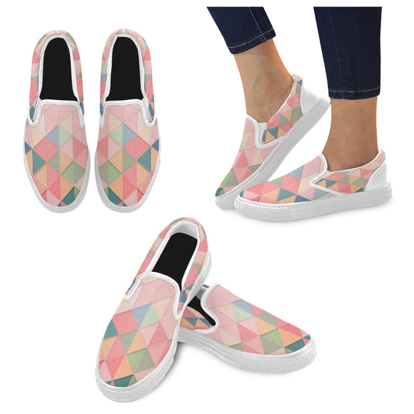 Slip-On Canvas Women's Triangular Pink Shoes (Model 019)