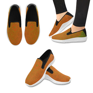 Orion Slip-on Canvas Women's Orange Green Mandala Sneakers (Model042)