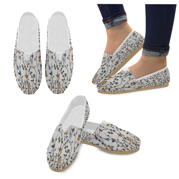 Canvas Slip On Floral Shoes- Women