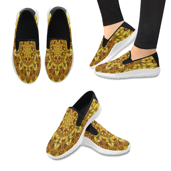 Orion Slip-on Canvas Women's Antique Yellow Mandala Sneakers (Model042)