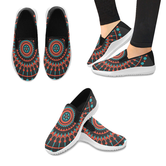 Orion Slip-on Canvas Women's Native Mandala on Black Sneakers (Model042)