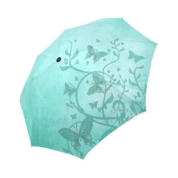 Anti-UV Automatic Foldable Sea Green Butterfly Trim Umbrella