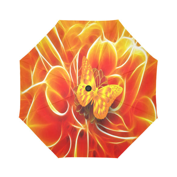 Automatic Foldable Electric Orange Butterfly Umbrella