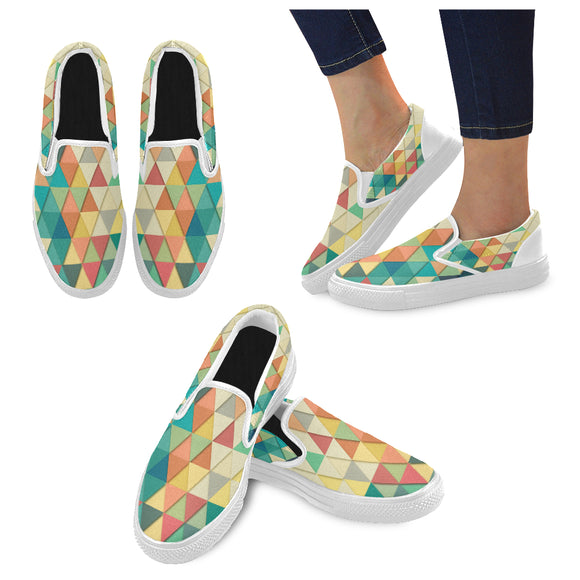 Slip-On Canvas Women's Triangular Teal Shoes (Model 019)