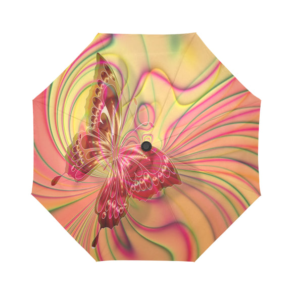 Automatic Foldable Orange Swirl Butterfly Umbrella