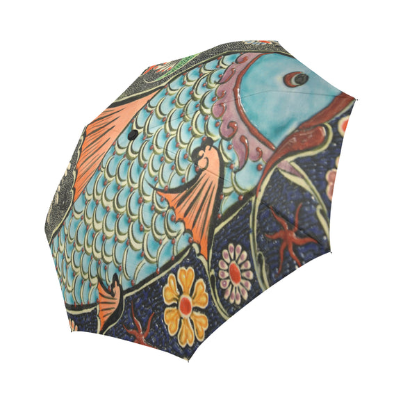Anti-UV Mosaic Fish Automatic Foldable Umbrella