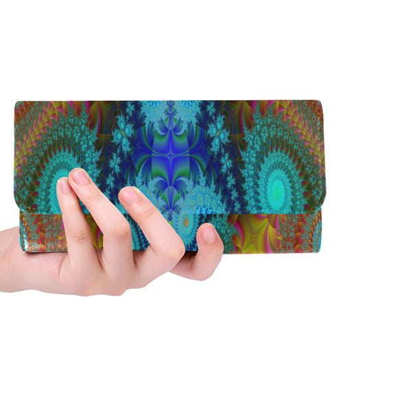 Women's Trifold Long Fractal Clutch Wallets (Model 1675)