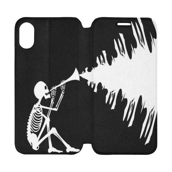 FOX PRODUCTS- iPhone X Flip Cover Case, Halloween Skeleton