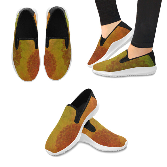 Orion Slip-on Canvas Women's Grunge Mandala Sneakers (Model042)