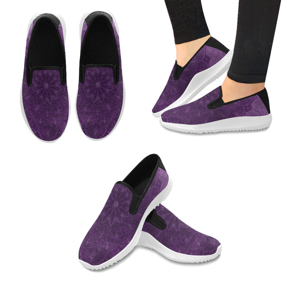 Orion Slip-on Canvas Women's Purple Mandala Sneakers (Model042)