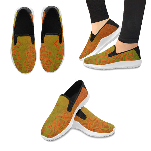 Orion Slip-on Canvas Women's Green Orange Whirl Mandala Sneakers (Model042)