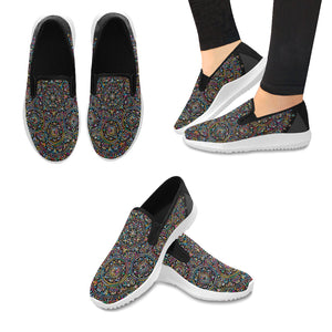 Orion Slip-on Canvas Women's Arabesque Mandala Sneakers (Model042)