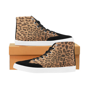 Bootes High Top Canvas Women's Leopard Print Shoes (Model 038) (Large Size)