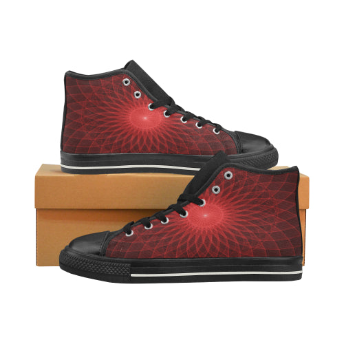 High Top Canvas Mandala Red Kid's Shoes (Big Kid) (Model017)