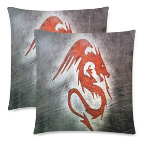 "Throw Pillow Cover Red Dragon 18"" x 18"" (Twin Sides) (Set of 2)"