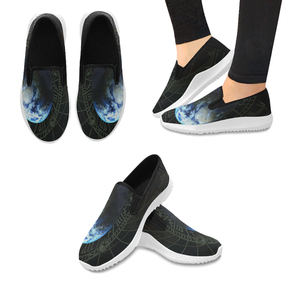 Orion Slip-on Canvas Women's Ancient Planet Sneakers (Model042)
