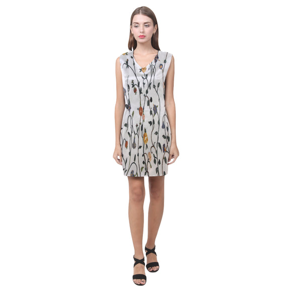 Sleeveless V-Neck Floral Dress- Women