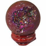 TUMBEELLUWA Titanium Coated Druzy Geode Sphere,Crystal Quartz Agate Gem Stone Egg/Ball,Sculpture Figurine Healing